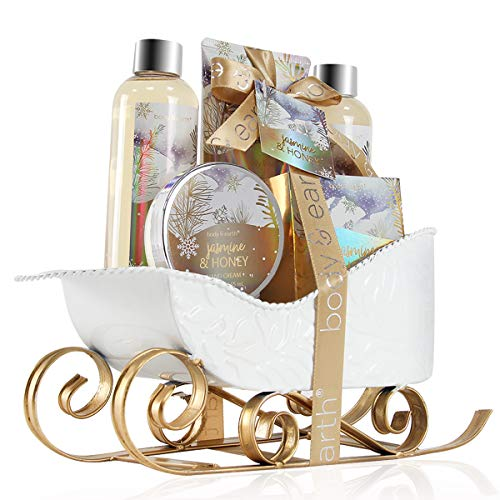 Bath and Body Set – Body & Earth Women Gifts Spa Set with Jasmine & Honey Scent, Includes Bubble Bath, Shower Gel, Body…