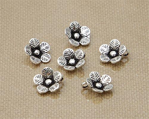 Luoyi 5pcs Thai Sterling Silver Flower Pendants, Plum Blossom, 11mm (G020Z)