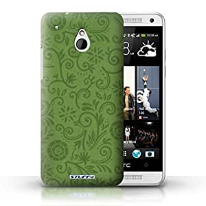KOBALT? Protective Hard Back Phone Case / Cover for HTC One/1 Mini | Green Flower Design | Floral Swirl Pattern Collection