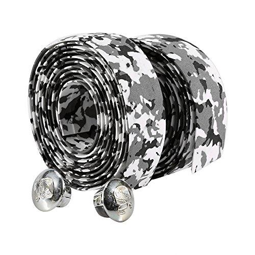 Alomejor Cinta de agarre para bicicleta, 2 unidades, 7 colores, cómoda cinta reflectante para manubrio de bicicleta de...
