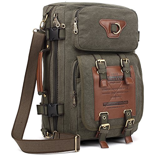 KAUKKO Outdoor Travel Men Backpack, Hiking Camping Canvas Rucksack (Army Green)