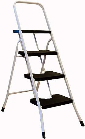 Escaleras de 4 escalones de Seguridad Pisada Antideslizante Plegable Heavy Duty Metal de Cocina Escaleras de Tijera - Capacidad 120 kg (Color : Negro): Amazon.es: Hogar