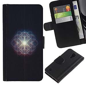 KLONGSHOP / Tirón de la caja Cartera de cuero con ranuras para tarjetas - Sun Mysterious Light Star Space - Samsung Galaxy S4 IV I9500