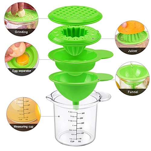 Measuring Grater - TENTA TENTA KITCHEN Latest Cheese Ginger Garlic Grater Lemonade Stand Citrus Juicer Egg separator Egg Splitter Funnel With Measuring Cup Storage Container 102 oz - 5 in1 - Rated Best