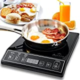 Countertop Electric Burner Secura 9100MC 1800W Portable Induction Cooktop Countertop Burner, Black
