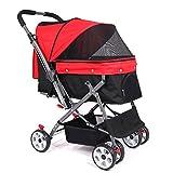 Pet Stroller 2 En 1 Dog Trolley Stroller Cat Stroller Folding Quick Installation Load Within 30Kg Suitable for All Kinds of Roads,Red