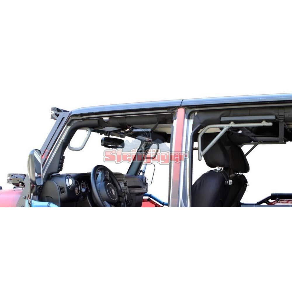 Steinjager 2007-2018 Jeep Wrangler 4-Door JKU Unlimited 4 Pc Grab Handle Set J0041352(Hammertone Gray)