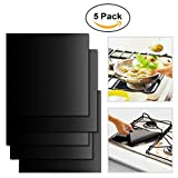 """5 burner stove top cover - Pinfox 5 Pack Gas Range Stovetop Burner Protectors Stove Liners Covers Non Stick Reusable 0.2mm Thick 10.6"""" x 10.6"""""""
