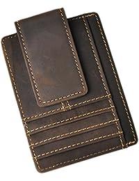 Genuine Leather Magnet Money Clip Credit Card Case Holder Slim Handy Wallet