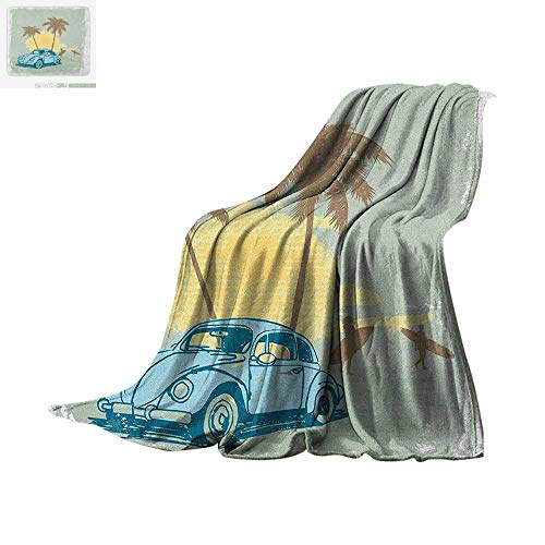 - Surf Digital Printing Blanket Summer Illustration with Vintage Car Sunset Surfing Palm Tree Classic Artwork Oversized Travel Throw Cover Blanket 60