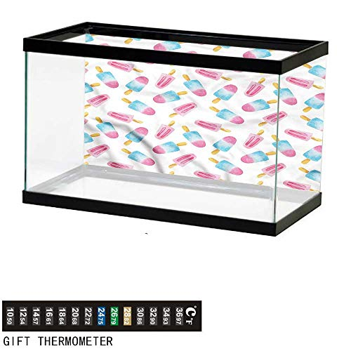 bybyhome Fish Tank Backdrop Ice Cream,Watercolor Popsicles,Aquarium Background,48