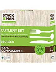 Stack Man 100% Compostable Plastic Silverware, Large Premium Heavy-Duty Flatware Utensils Eco Friendly BPi Certified, 7.5 Inch, Natural Wood Color Tableware