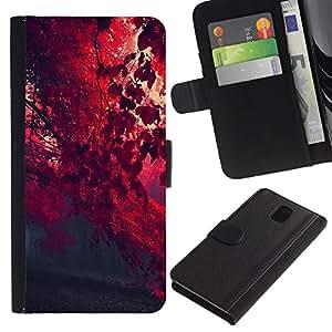 KLONGSHOP // Tirón de la caja Cartera de cuero con ranuras para tarjetas - Red otoño - Samsung Galaxy Note 3 III //