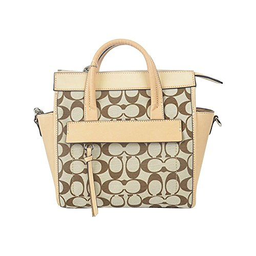 in Preston Fabric; 30168 COACH Vachetta Printed Light Madeira Khaki Signature Silver Mini Riley Bleecker Carryall Zqx5FUXx