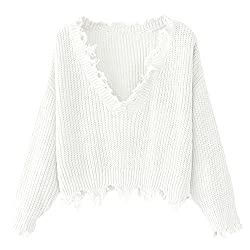 Zaful Women S Loose Long Sleeve V Neck Ripped Pullover Knit Sweater Crop Top White