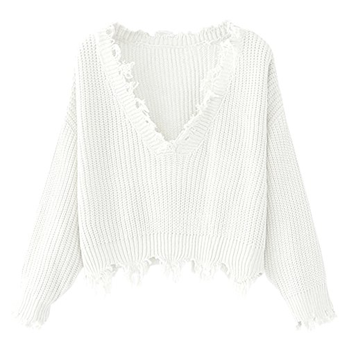 ZAFUL Women's Loose Long Sleeve V-Neck Ripped Pullover Knit Sweater Crop Top (White)