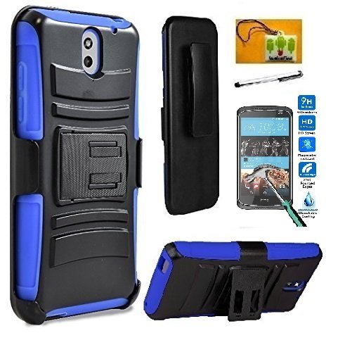Htc Cell Phone Cases (HTC Desire 526 (Verizon), LF 4 in 1 Bundle, Hybrid Armor Stand Case with Holster and Locking Belt Clip, Stylus Pen, Tempered Glass Screen Protector & Wiper Accessory (Holster Blue))