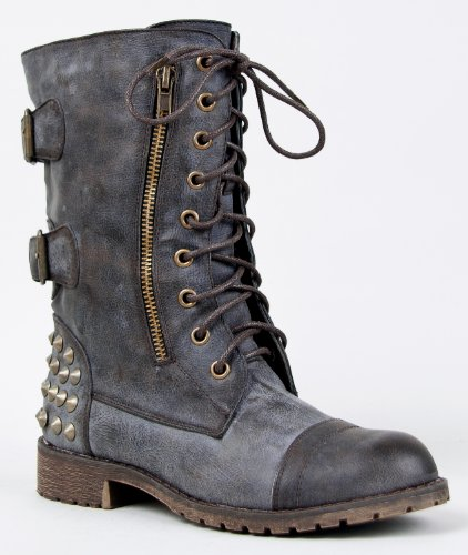 Harley 12 Womens Military Lace up Studded Combat Boot Black