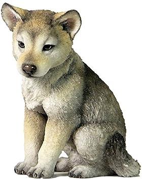 4.5 Inch Wolf Cub Sitting Decorative Statue Figurine, Gray and Cream