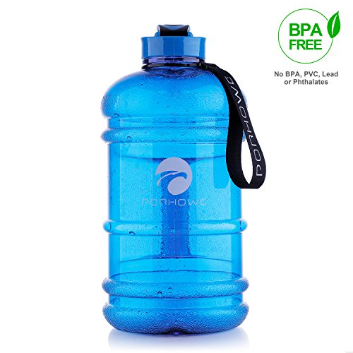 PORHOWE 2.2 L Sport Drinking Water Bottle BPA Free Plastic Big Capacity Large Leakproof Water Jug Container with Carrying Loop Water Bottle for Outdoor Sports Fitness Gym Workout Hiking & Office