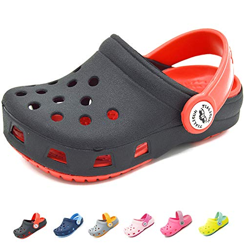 Sawimlgy US Unisex Kids Boys Girls Comfort Clogs with Backstrap Slip On Water Garden Shoes Lightweight Summer Sandals Walking Slippers (Toddler/Little Kids)
