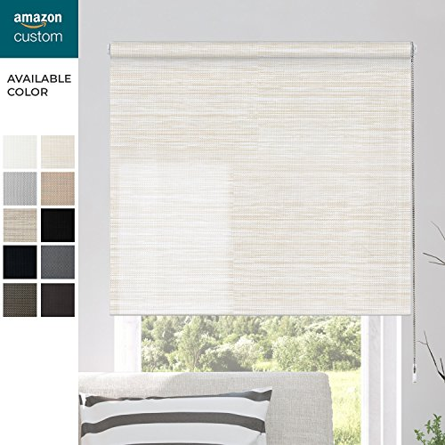 CHICOLOGY Custom Made Roller Shade,No Valance,Gaza Straw(Solar) Outside Mount Right Lift Cord,33.5''WX24''H by CHICOLOGY