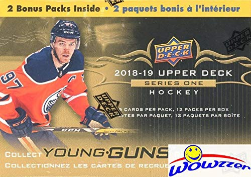 (2018/19 Upper Deck Series 1 NHL Hockey EXCLUSIVE HUGE Factory Sealed Blaster Box with 12 Packs including TWO(2) YOUNG GUN ROOKIE Cards! Look for Elias Pettersson, Rasmus Dahlin & Many More! WOWZZER!)