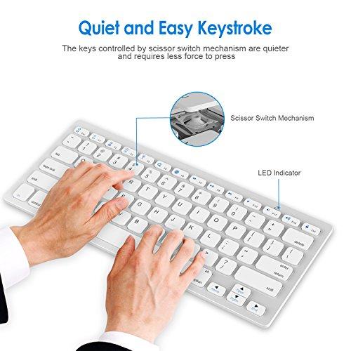 JETech 2156- Universal Bluetooth Wireless Keyboard, Portable, White by JETech (Image #3)