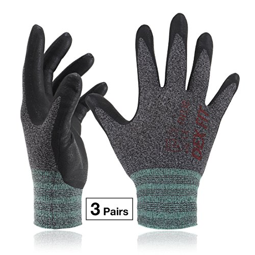 DEX FIT Lightweight Nitrile Work Gloves FN330, 3D Comfort Stretch Fit, Durable Power Grip Foam Coated, Smart Touch, Thin Machine Washable, Black Grey X-Large 3 Pairs Pack