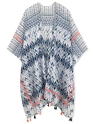 Spicy Sandia Swimsuit Cover ups for Women with Tassel Open-Front Kimono Cardigan with Vintage Floral Print Beach Cover up