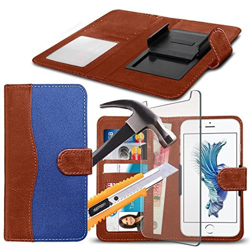 ( Brown 144 x 76.2 mm ) Handytasche fŸr DOOGEE MIX HŸlle HandyhŸlle [ UNIVERSAL BOOK POUCH ] DŸnnFabrics and Synthetic PU Leather Kunstleder,r Spring Clamp Adjustable Flip HŸlle HandyhŸlle Skin with C Fabric Clamp Flip+ GLASS 5.5 inch (Blue)