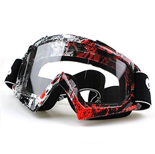 Wonzone Windproof Dustproof Motorcycle Anti-fog Cross country Riding Cycling Sunglasses Mountaineering Skiing Snow Ski Goggles Protective Eyewear (Red&White, Clear) ()