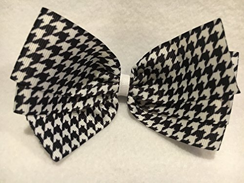Houndstooth Hair Bow, Houndstooth Ribbon, Black and White Hair Bow
