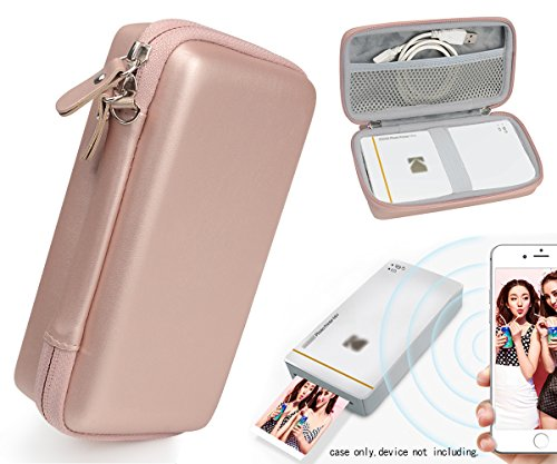 Designed Protective Case for Kodak Mini Mobile Wi-Fi & NFC Printer, also for Pickit M2 Portable Photo Printer, New LG Pocket Photo Printer 3 PD251, Mesh Pocket for Photo Paper and Cable (Rose Gold) - Mini Printer Mobile
