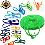 Stainless Steel Wire Clip Holders Assorted Colors, 5M Clothesline, 20Pcs Utility Clips and Hook with soft coated, Windproof Pins clip for Launtry, Beach, Book and Towel, LONGLIFE GREAT PERFORMANCE