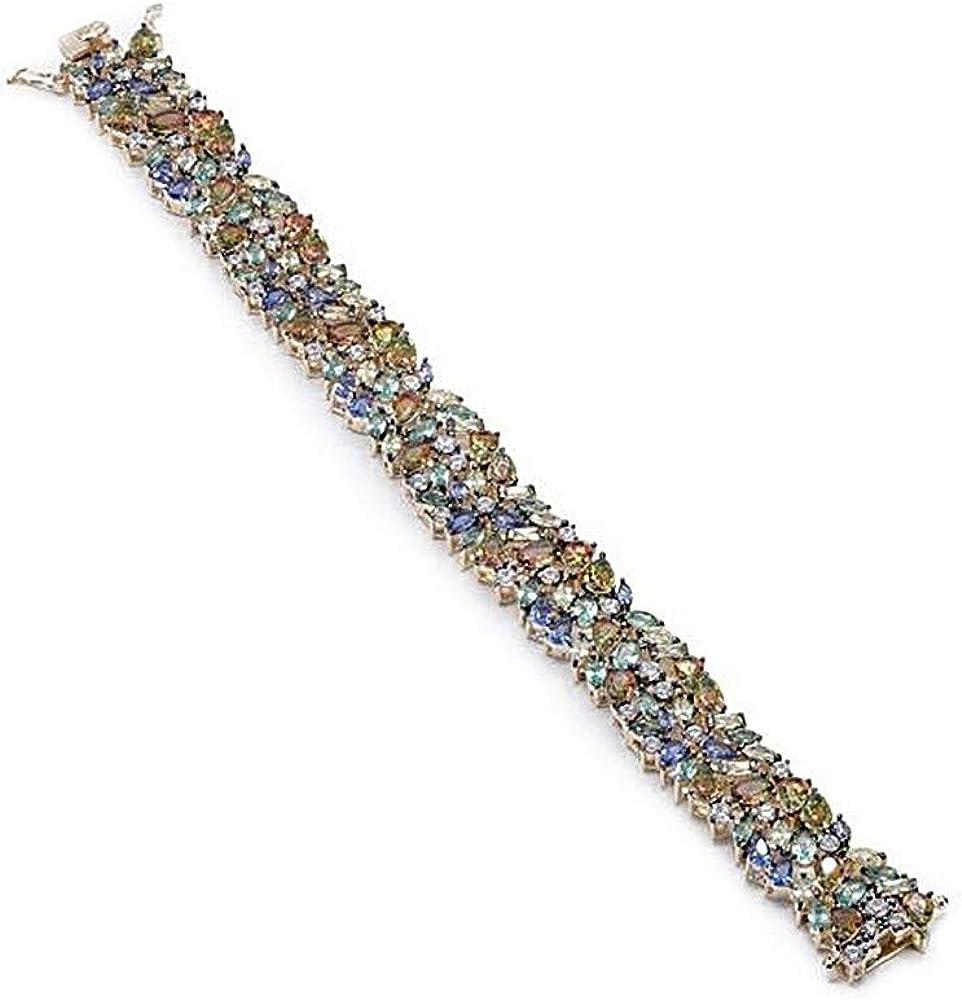 Pulsera Lineargent plata Ley 925m baño oro rosa 18.5cm. piedras cuarzos diamantinos multicolores
