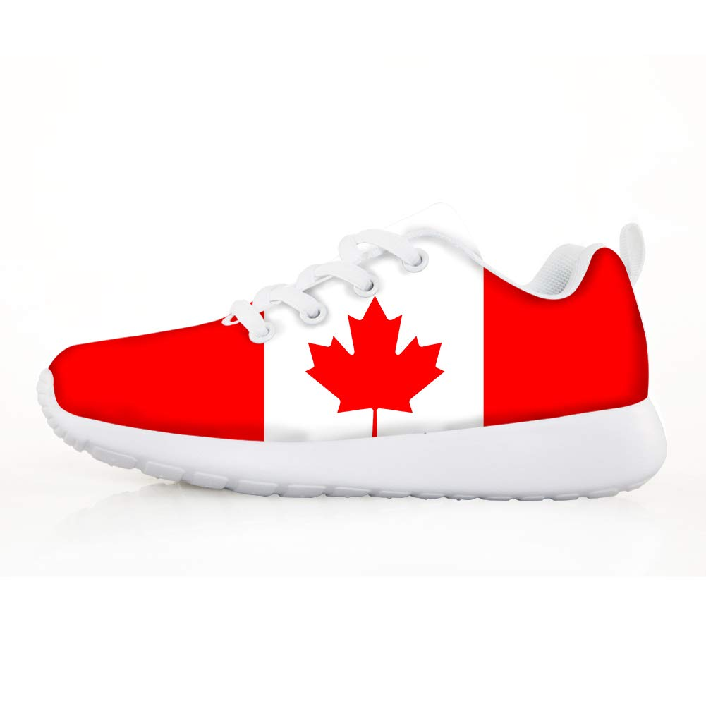 Owaheson Boys Girls Casual Lace-up Sneakers Running Shoes Canada Flag