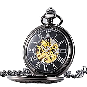 Treeweto Mens Classic Mechanical Steampunk Pocket Watch Black Case Roman Numerals