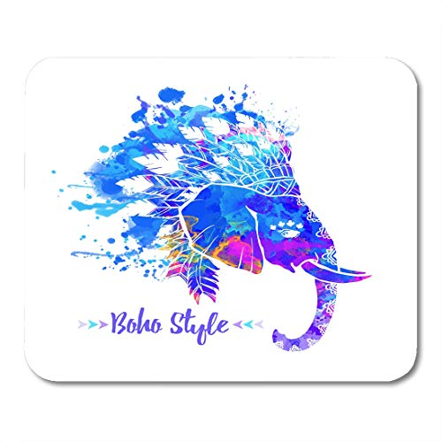 """Semtomn Mouse Pad Elephant Head American Indian Chief Headdress Feather for Websites Mousepad 9.8"""" x 7.9"""" for Notebooks,Desktop Computers Mouse Mats, Office Supplies"""