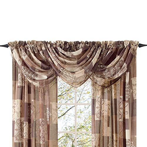 Style Master Renaissance Home Fashion Jasmine Tile Print Sheer Waterfall Valance, 47 by 38-Inch