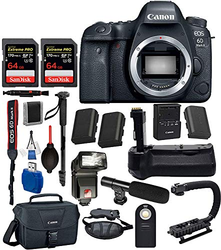 Canon EOS 6D Mark II Digital SLR Full Frame Camera Body Only USA (Black) 18PC Professional Bundle Package Deal -Professional Battery Grip + SanDisk Extreme pro 64gb SD Card +Canon Shoulder Bag + More