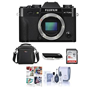 Fujifilm X-T20 24.3MP Mirrorless Digital Camera UHD 4K Video, Panorama, Black – Bundle with Camera Case, 16GB SDHC Card, Cleaning Kit, Card Reader, Software Package