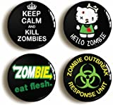 Pin-1 4 x ZOMBIE APOCALYPSE  FUNNY HALLOWEEN BADGES PINS BUTTONS (1inch/25mm diameter)