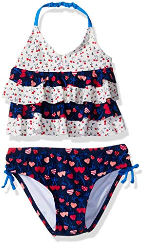 Kiko & Max Little Girls' Ruffle Top Bikini Swim Bathing Suit, Navy Cherry Hearts, 4 ()