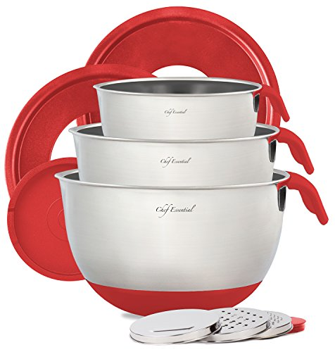 Stainless Steel Mixing Bowl Set of 3 with Non-Slip Silicon Handles, Non-Skid Bottom, Measurement Marks, Grater Attachments and Leak-Proof Lids, Red, Chef Essential.