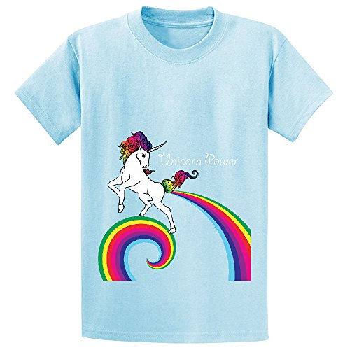 Price comparison product image Mcol Unicorn Power With Rainbow Teen Crew Neck Print T-shirt L-blue