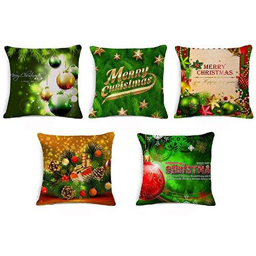 Leewos Hot New! Christmas Pillowslip,Merry Xmas Floral Pattern Throw Cushion Case Linen Square Home Decor Pillow Cover (45X45cm, E)
