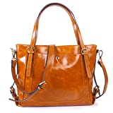 Yafeige Women's Handbag Vintage Soft Genuine Leather Shoulder Tote Top-handle Bag Cross-Body Bags Satchel Purse(Brown)