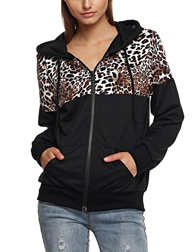Stylish Women's Long Sleeve Zip up Hoodie Jacket Casual Sweatshirt with Pocket Black, L (Print Leopard Jacket)