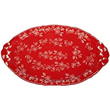 """Temp-tations Platter Serving Tray 18"""" x 11"""" - Floral Lace Red"""